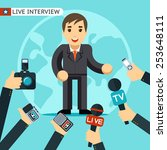 man in a suit being interviewed.... | Shutterstock . vector #253648111