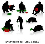 Stock vector silhouettes of beggars and homeless people 25365061