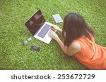 freelancer girl from the device ... | Shutterstock . vector #253672729