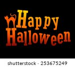 happy halloween greeting with a ... | Shutterstock .eps vector #253675249
