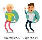 funny cartoon people dancing to ...   Shutterstock .eps vector #253675654
