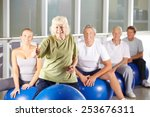 old smiling woman in gym... | Shutterstock . vector #253676311