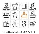 elegant vector black cleaning...   Shutterstock .eps vector #253677451