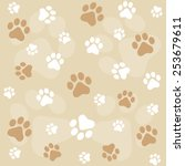 Dog Paw Prints Seamless Pattern ...