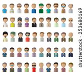 flat men icons   isolated on... | Shutterstock .eps vector #253680169