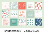 set of 15 creative cards. hand...