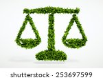 isolated 3d render eco scales... | Shutterstock . vector #253697599