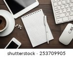 overhead of office table with... | Shutterstock . vector #253709905