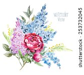 watercolor  vector  peonies ... | Shutterstock .eps vector #253732045