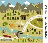 set of vector icons for camping ... | Shutterstock .eps vector #253741165