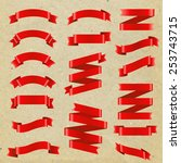 red ribbon big set  vector... | Shutterstock .eps vector #253743715