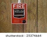 fire alarm on wood panel wall | Shutterstock . vector #25374664