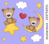 valentine card with lovers bears | Shutterstock . vector #253753951