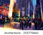 colorful painting of city... | Shutterstock . vector #253770661