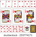 Playing cards, hearts suite, joker and back. Faces double sized. Green background. - stock vector