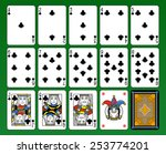 Playing cards, club suite, joker and back. Green background. - stock vector