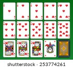 Playing cards, hearts suite, joker and back. Green background. - stock vector