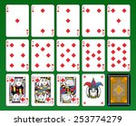 Playing cards, diamonds suite, joker and back. Green background. - stock vector