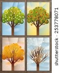 four trees as symbols of the... | Shutterstock .eps vector #253778071