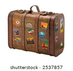 old suitcase travel stickers... | Shutterstock . vector #2537857