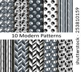 set of ten modern patterns | Shutterstock .eps vector #253810159