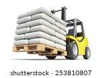 Forklift With White Sacks