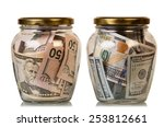 Money In Glass Jars  Isolated...