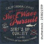 surf vector print | Shutterstock .eps vector #253821559