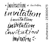 invitation set words hand... | Shutterstock . vector #253830475