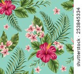 tropical floral seamless... | Shutterstock .eps vector #253845334