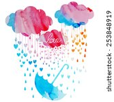 watercolor rain from the hearts ... | Shutterstock .eps vector #253848919