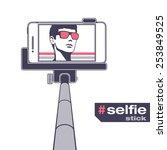 selfie on smartphone using... | Shutterstock .eps vector #253849525