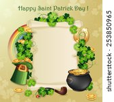 saint patrick's day card with... | Shutterstock .eps vector #253850965