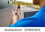 closeup of man trainer hand... | Shutterstock . vector #253852831