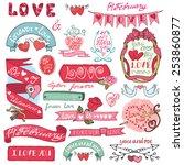 valentine s day wedding love...   Shutterstock .eps vector #253860877