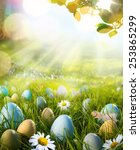 art easter eggs on spring field | Shutterstock . vector #253865299