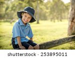 mixed race asian caucasian boy... | Shutterstock . vector #253895011