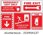 set of fire alarm  fire exit ... | Shutterstock .eps vector #253904137
