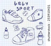 baby shoes set sketch hand... | Shutterstock .eps vector #253910431