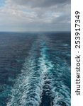 Wake of a large ship on the Atlantic Ocean - stock photo