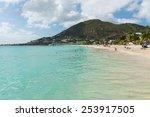 Tourists on the beach, Philipsburg, St. Maarten - stock photo
