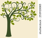 decorative trees background.... | Shutterstock .eps vector #253920085