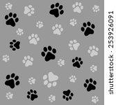 dog paw prints seamless pattern ... | Shutterstock .eps vector #253926091