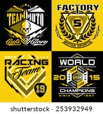 motocross sport shield emblem... | Shutterstock .eps vector #253932949