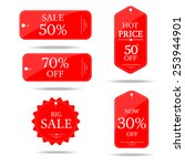 Red Set Price Tag Vector