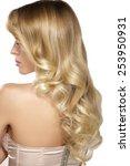 beautiful young blond model... | Shutterstock . vector #253950931
