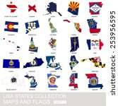 usa state collection  maps and... | Shutterstock .eps vector #253956595