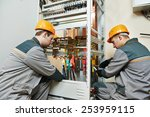 two electrician builder... | Shutterstock . vector #253959115