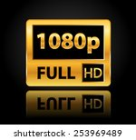1080p full hd sign with... | Shutterstock .eps vector #253969489