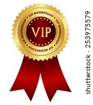 gold and red award ribbon... | Shutterstock .eps vector #253975579